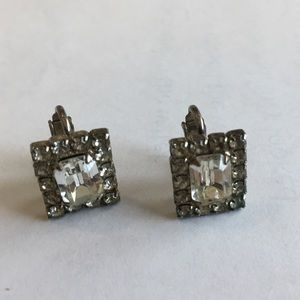 Vintage clip on earrings, great sparkle
